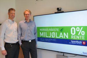 Informasjonssjef Ola Stave (t.v.) og administrerande banksjef Knut Oscar Fleten. FOTO: Torbjørn Gunhildgard/ Hallingdølen Nyheter.