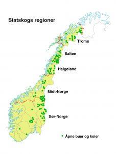 Oversikt over åpne koier og buer (NB: Klikk på bildet for en større versjon). Kilde: Statskog
